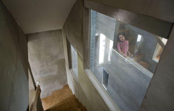 vandskuret væg indendørs