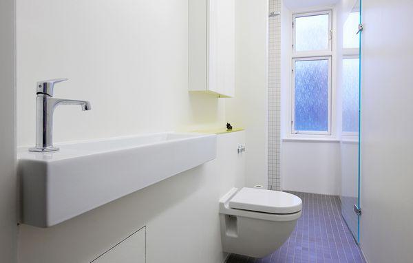 indret lille badeværelse