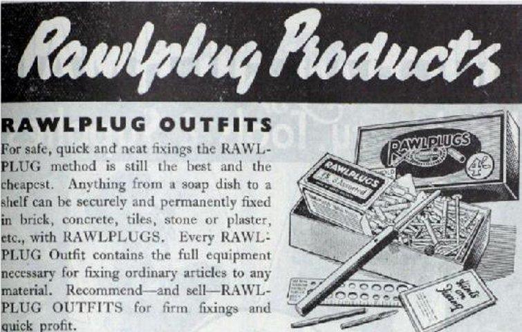 9930a045f2b På denne gamle annonce kan man se en ældre model af rawlplugs. Dengang blev  de fremstillet af hampefibre, mens rawlplugs i dag typisk er lavet af nylon.