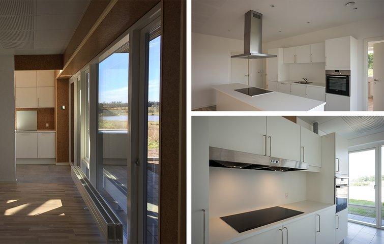Tre forskellige køkkener: Køkkenø, lukket køkken og komfur langs væggen
