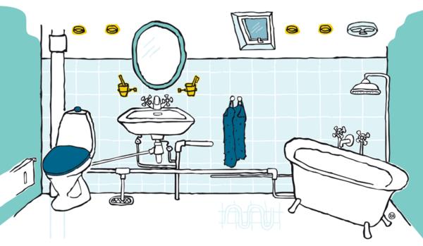 tegn et badeværelse